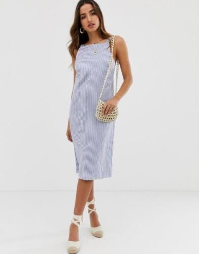 Vestido de verano midi con hebilla en la parte posterior y diseño a ra...