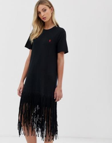 Vestido estilo camiseta con flecos en el bajo de Polo Ralph Lauren