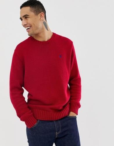 Jersey de punto grueso de algodón con cuello redondo en rojo de Polo R...