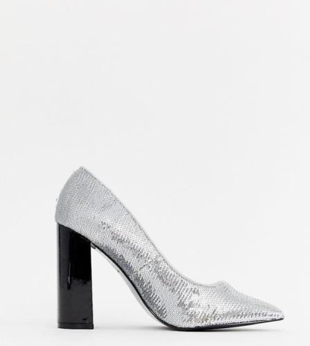 Zapatos de salón con tacón grueso y lentejuelas plateadas de River Isl...