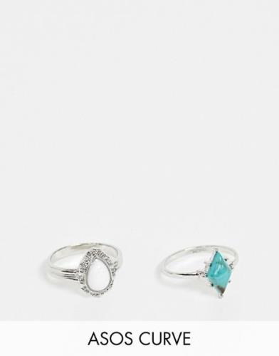 Pack de 2 anillos en tono plateado con piedras estilo piedras semiprec...